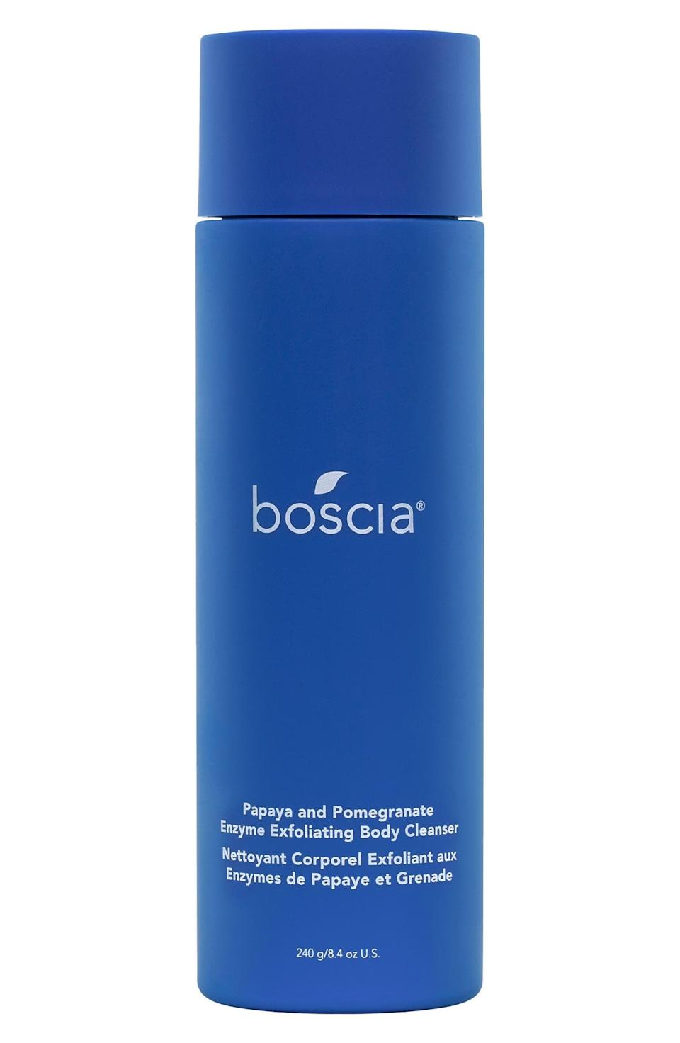 """<p>The <span>Boscia Papaya and Pomegranate Enzyme Exfoliating Body Cleanser</span> ($35) is a refreshing formula that's rich with AHAs like lactic acid and mandelic acid that help treat hyperpigmentation and uneven skin tone. It's also proven to be <a href=""""https://www.popsugar.com/beauty/boscia-papaya-pomegranate-body-cleanser-review-48209344"""" class=""""link rapid-noclick-resp"""" rel=""""nofollow noopener"""" target=""""_blank"""" data-ylk=""""slk:a great treatment for body acne"""">a great treatment for body acne</a>.</p>"""
