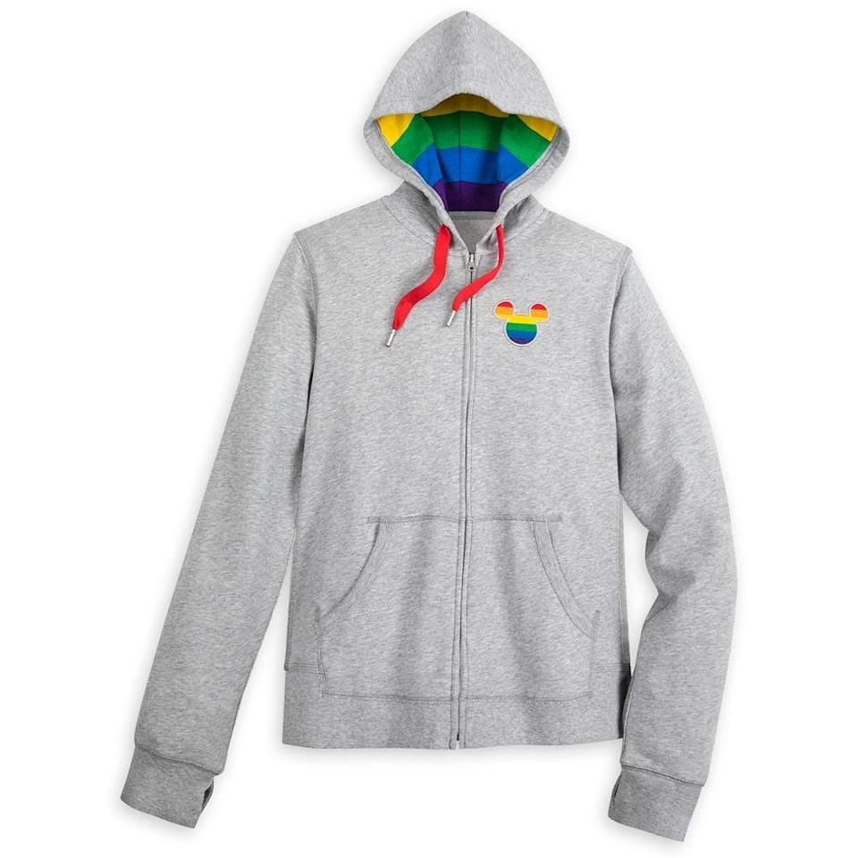 <p>The rainbow hood on the <span>Mickey Mouse Zip-Up Hoodie For Adults</span> ($55) is everything. </p>