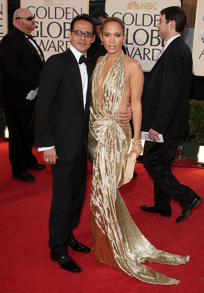 """Marc Anthony and Jennifer Lopez arrive at the 66th Annual Golden Globe Awards in Beverly Hills. Jason Merritt/<a href=""""http://www.gettyimages.com/"""" target=""""new"""">GettyImages.com</a> - January 11, 2009"""