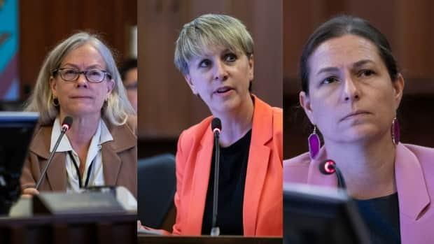 Councillors Colleen Hardwick, Sarah Kirby-Yung and Lisa Dominato announced Wednesday that they are leaving the NPA to sit as independents.  (Ben Nelms/CBC - image credit)