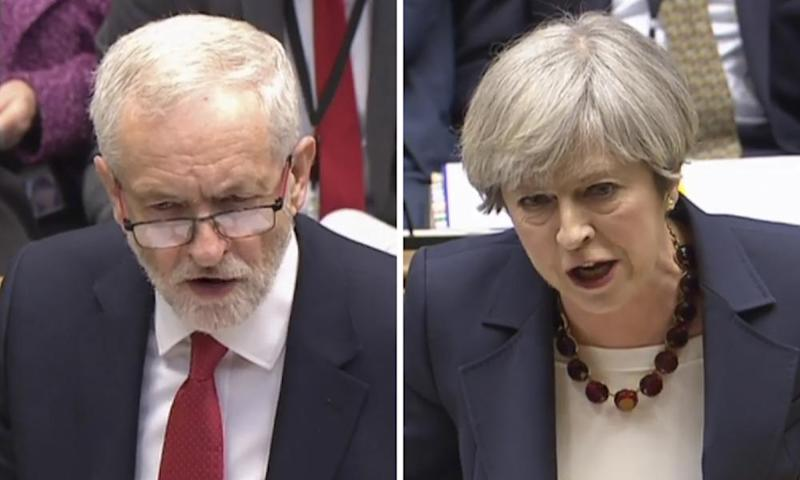 Theresa May and Jeremy Corbyn during the final PMQs of this parliament.