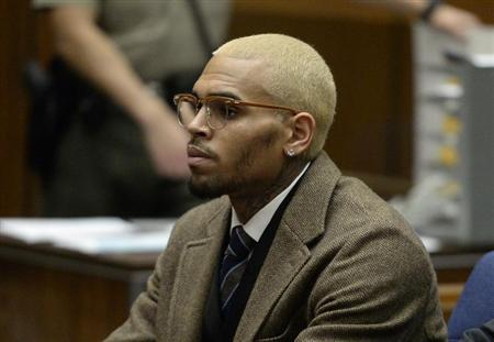 Chris Brown appears in court during a probation violation hearing in Los Angeles