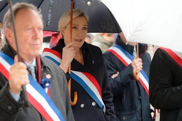 "CARVIN, FRANCE - NOVEMBER 11: French far-right party ""Rassemblement National"" leader Marine Le Pen attends remembrance day commemorations on November 11, 2019 in Carvin, France. (Photo by Sylvain Lefevre/Getty Images)"