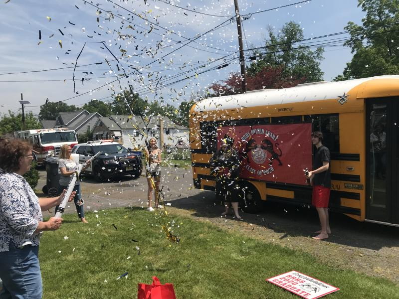 Bridgewater-Raritan High School in New Jersey sent buses to the homes of 700 students to give them small graduation ceremonies. (Photo: Courtesy of Bridgewater-Raritan High School)