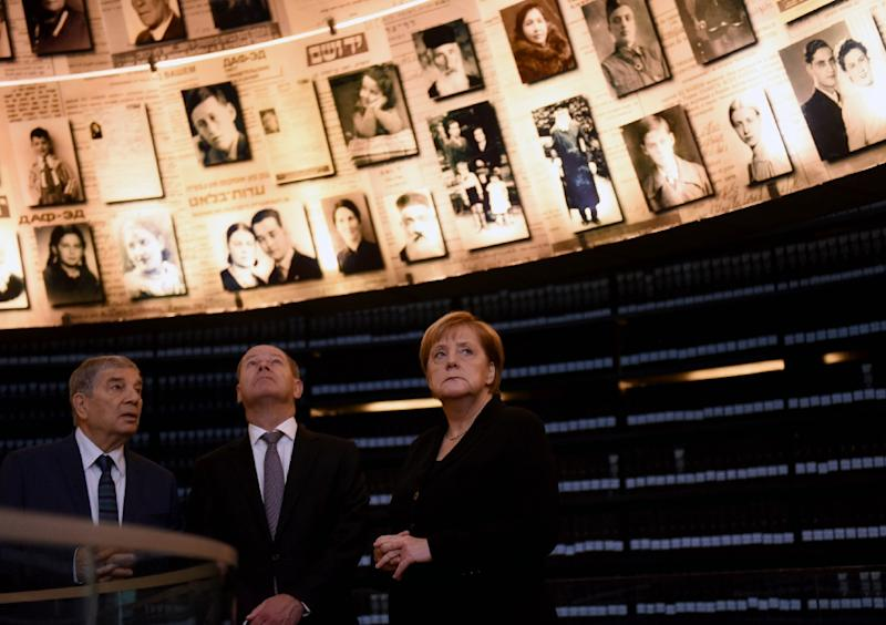 Chancellor Angela Merkel spoke of Germany's responsibility as the perpetrator of the Holocaust after visiting the Yad Vashem Holocaust Museum in Jerusalem (AFP Photo/DEBBIE HILL)