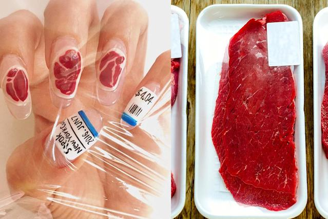 NYC-based manicurist Mei Kawajiri's raw meat-inspired nail art. (Photo: Instagram/nailsbymei/Getty Images)
