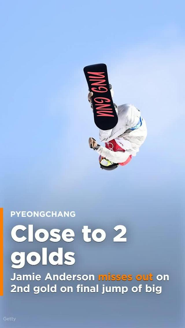 Rival stomps out Jamie Anderson's quest for second gold on final jump of big air.