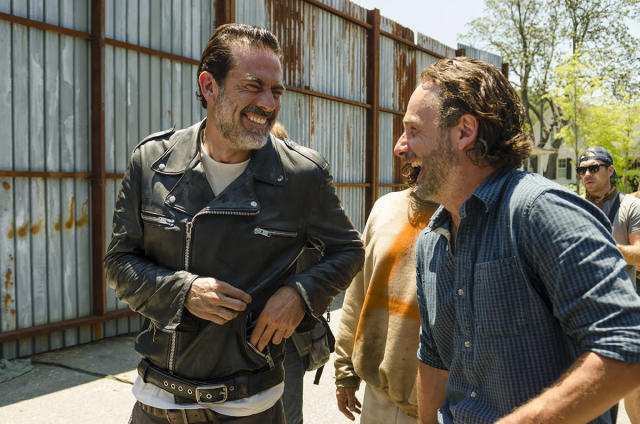 <p>We'll probably never seen it on-screen, but Jeffrey Dean Morgan and Andy Lincoln crack each other up while filming on the Alexandria set.<br><br>(Photo: AMC) </p>