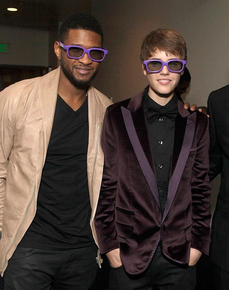 "The Biebs himself -- wearing 3D shades in purple -- caught up with his mentor, Usher, inside the Nokia Theatre. The humble 16-year-old tweeted, ""This movie isn't about me...and it isn't just for my fans..its about believing in a dream. We all can share in that."" Todd Williamson/<a href=""http://www.wireimage.com"" target=""new"">WireImage.com</a> - February 8, 2011"