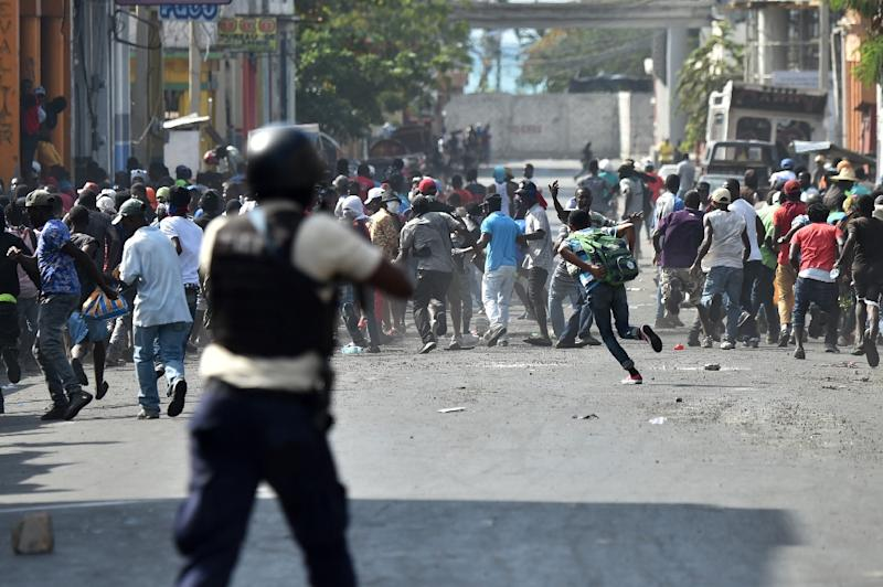 Haiti is still recovering from violent protests in February -- like this one in Port-Au-Prince -- calling for the resignation of President Jovenel Moise (AFP Photo/HECTOR RETAMAL)