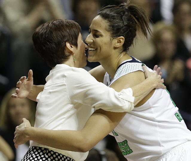 Notre Dame forward Taya Reimer (12) embraces Notre Dame head coach Muffet McGraw during the second half of the semifinal game against Maryland in the Final Four of the NCAA women's college basketball tournament, Sunday, April 6, 2014, in Nashville, Tenn. Notre Dame won 87-61. (AP Photo/Mark Humphrey)