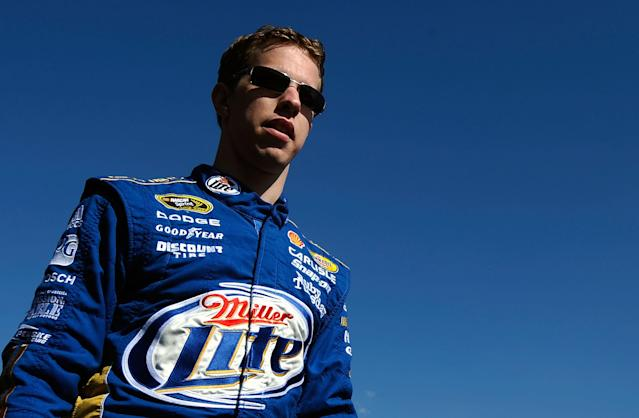 MARTINSVILLE, VA - OCTOBER 30: Brad Keselowski, driver of the #2 Miller Lite Dodge, walks on the grid prior to the NASCAR Sprint Cup Series TUMS Fast Relief 500 at Martinsville Speedway on October 30, 2011 in Martinsville, Virginia. (Photo by Jared C. Tilton/Getty Images)