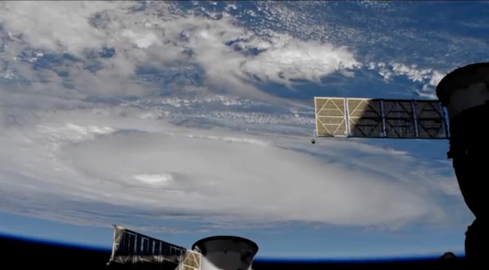 This satellite image provided by NASA from the International Space Station shows Hurricane Dorian earlier this month. Source: NASA