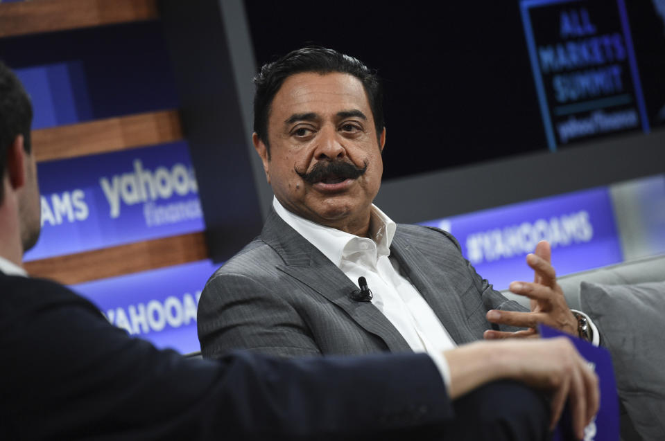 Jacksonville Jaguars owner Shad Khan participates in the Yahoo Finance All Markets Summit at Union West on Thursday, Oct. 10, 2019, in New York. (Photo by Evan Agostini/Invision/AP)