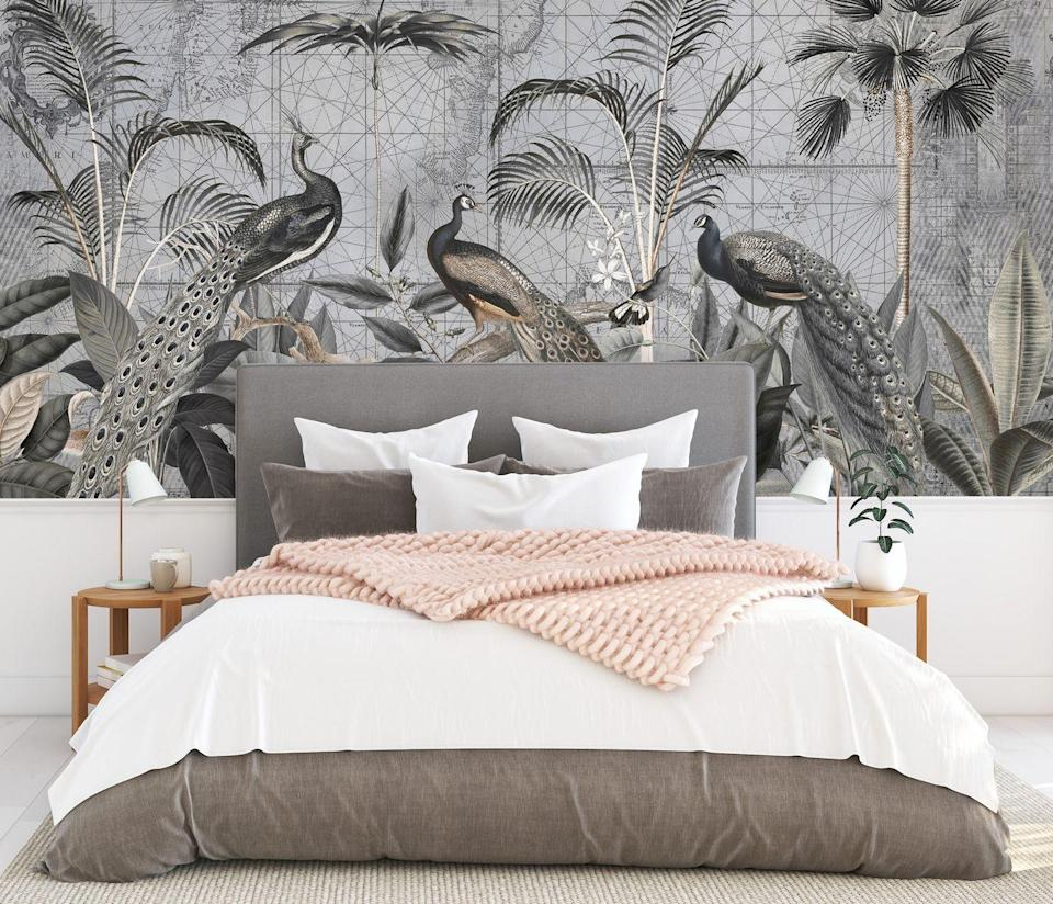 """<p>There has been a huge trend in wall murals in recent years and it's easy to see why – they make such an impact in a space. This beautiful design features map references, jungle leaves and peacocks, so there is always something to look at, and the greys blend well with natural and taupe colours.</p><p>Top tip: You can wrap a room in a mural, but having it on just one wall makes more of a statement.</p><p>Pictured: <a href=""""https://www.wallsauce.com/designer-wallpaper-murals/peacocks-clan-4"""" rel=""""nofollow noopener"""" target=""""_blank"""" data-ylk=""""slk:Peacocks Clan 4 mural, Wallsauce.com"""" class=""""link rapid-noclick-resp"""">Peacocks Clan 4 mural, Wallsauce.com</a></p>"""