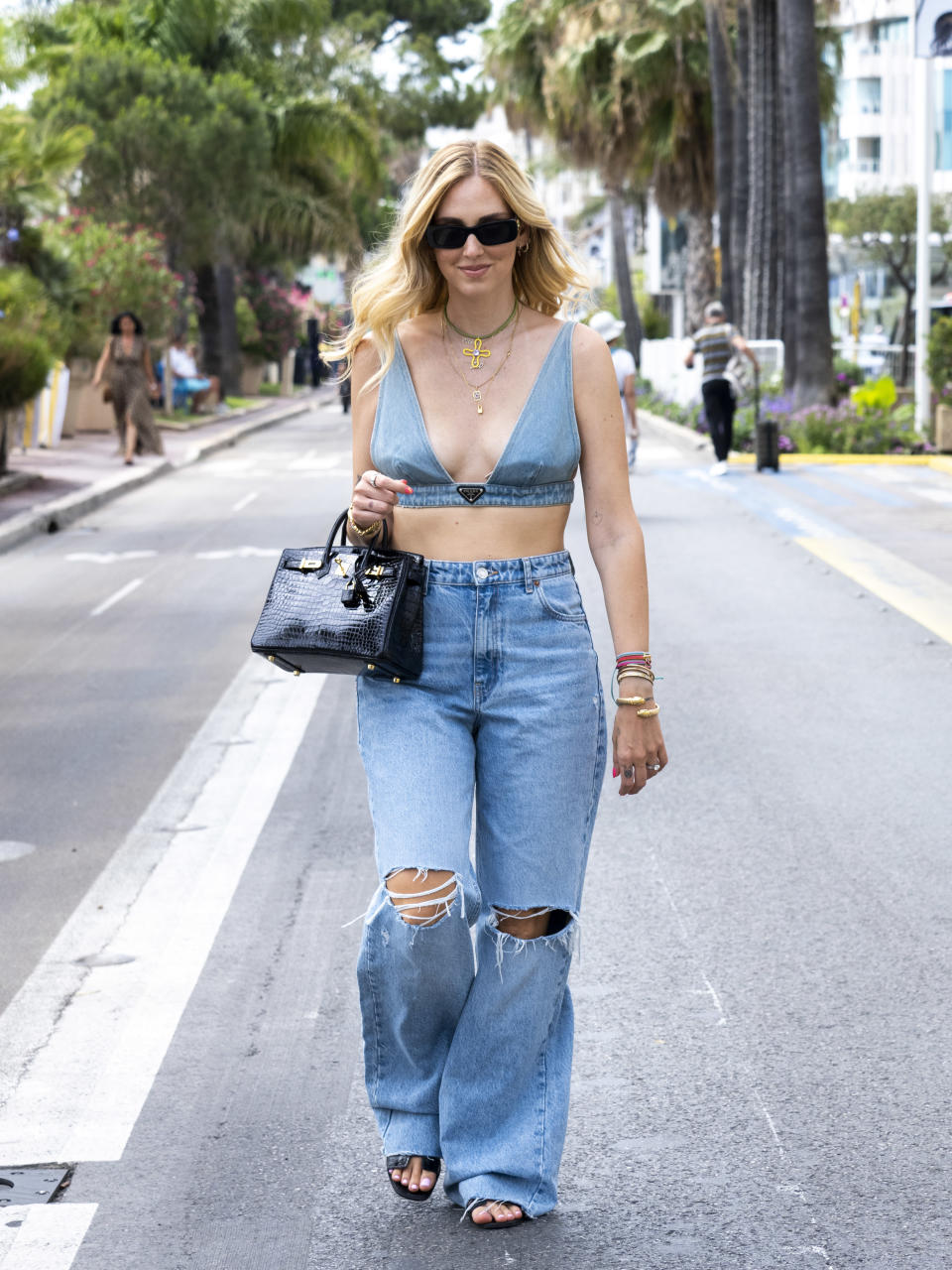 Chiara Ferragni, an Italian influencer and designer, was spotted in Cannes wearing a denim crop top.(Photo by Arnold Jerocki/GC Images)