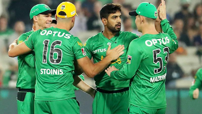 Haris Rauf and the Melbourne Stars, pictured here celebrating a wicket against the Sydney Thunder.