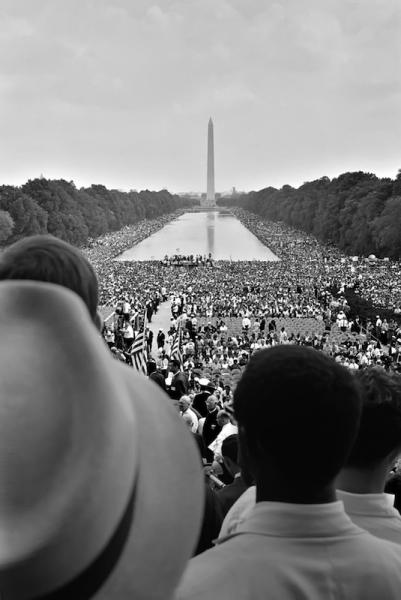 The crowd around the reflecting pool during Martin Luther King's March on Washington in 1963.