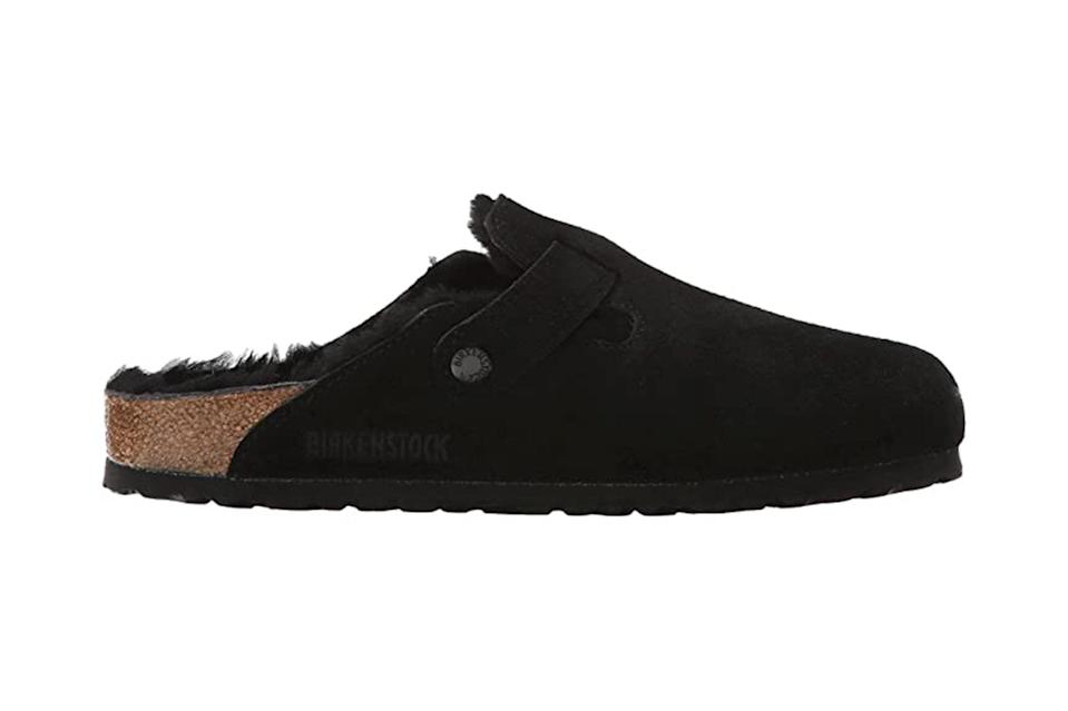 "$165, Zappos. <a href=""https://www.zappos.com/p/birkenstock-boston-shearling-black-black-suede/product/8381887/color/5492"" rel=""nofollow noopener"" target=""_blank"" data-ylk=""slk:Get it now!"" class=""link rapid-noclick-resp"">Get it now!</a>"