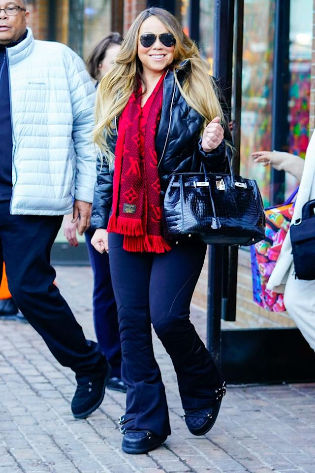 Mariah Carey steps out in Aspen, Colorado to do some Christmas Eve shopping on Tuesday.