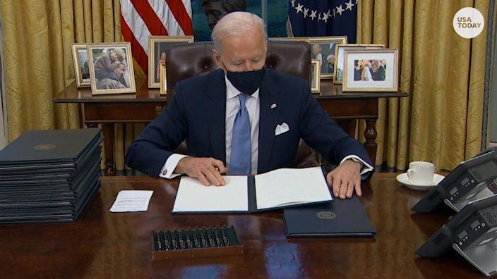 President Joe Biden will sign a couple of executive orders on Friday to provide economic relief to families reeling from the impact of the coronavirus pandemic.