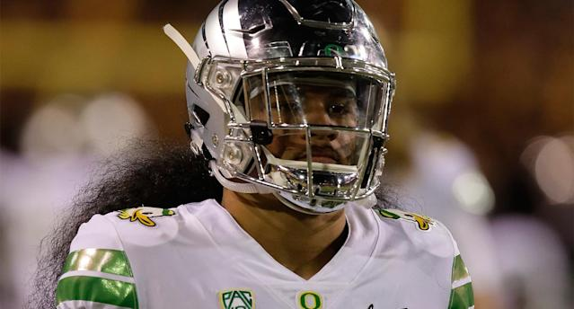 "Police in Oregon have arrested a college student in the death of former <a class=""link rapid-noclick-resp"" href=""/nhl/teams/ana"" data-ylk=""slk:Ducks"">Ducks</a> linebacker Fotu Leiato. (Getty)"