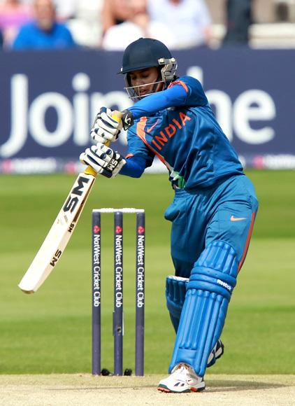 Mithali Raj of India plays defensive during the NatWest International T20 match between England and India at Ford County Ground on June 28, 2012 in Chelmsford, England.  (Photo by Jan Kruger/Getty Images)