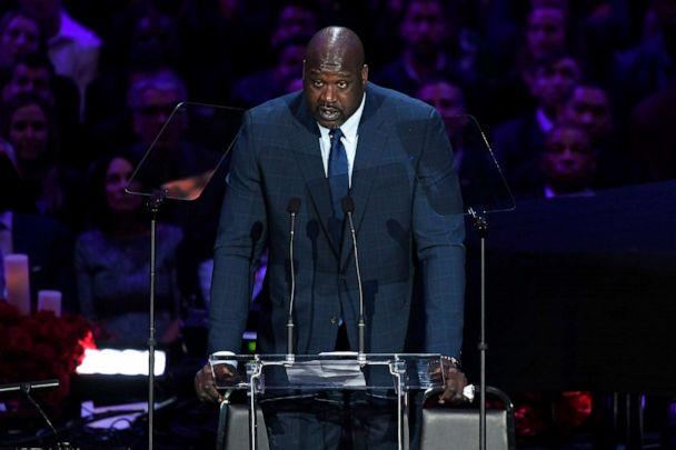 PHOTO: Shaquille O'Neal speaks during The Celebration of Life for Kobe & Gianna Bryant at Staples Center on Feb. 24, 2020, in Los Angeles. (Kevork Djansezian/Getty Images)