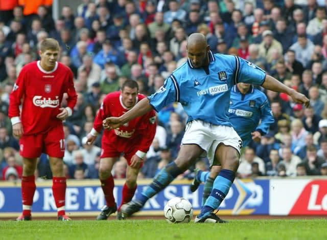 Nicolas Anelka inspired Manchester City to their last win over Liverpool at Anfield (Martin Rickett/PA)
