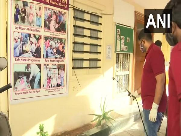 Volunteers Sanitizing an Old Age Home in Hyderabad