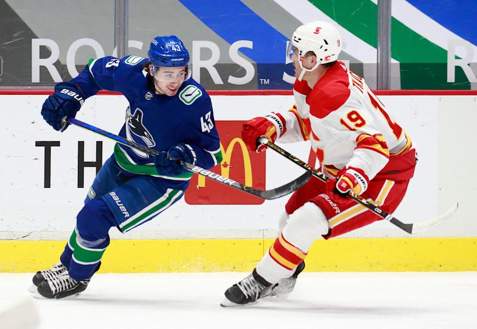Arguably the weakest division in hockey should produce one of the NHL's most exciting playoff races — with the Flames and Canucks right in the thick of it.  (Getty)