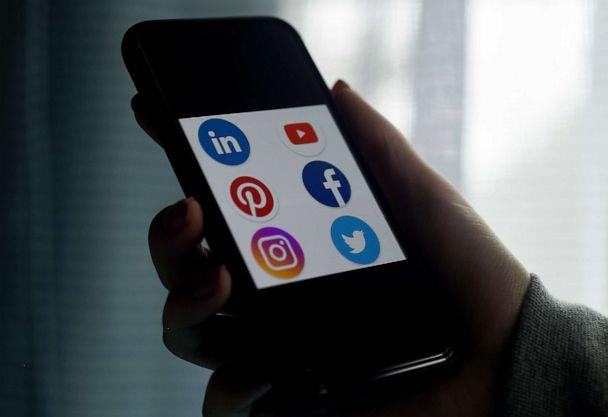 PHOTO: This illustration picture shows social media applications logos from Linkedin, YouTube, Pinterest, Facebook, Instagram and Twitter displayed on a smartphone in Arlington, Va., on May 28, 2020. (Olivier Douliery/AFP via Getty Images)