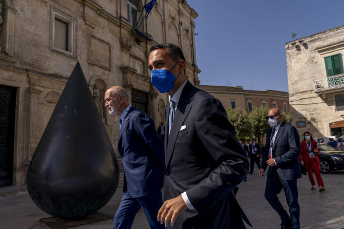 Italy's Foreign Minister Luigi Di Maio arrives at a G20 foreign ministers meeting in Matera, Italy, Tuesday, June 29, 2021. Blinken is on a week long trip in Europe traveling to Germany, France and Italy. (AP Photo/Andrew Harnik, Pool)