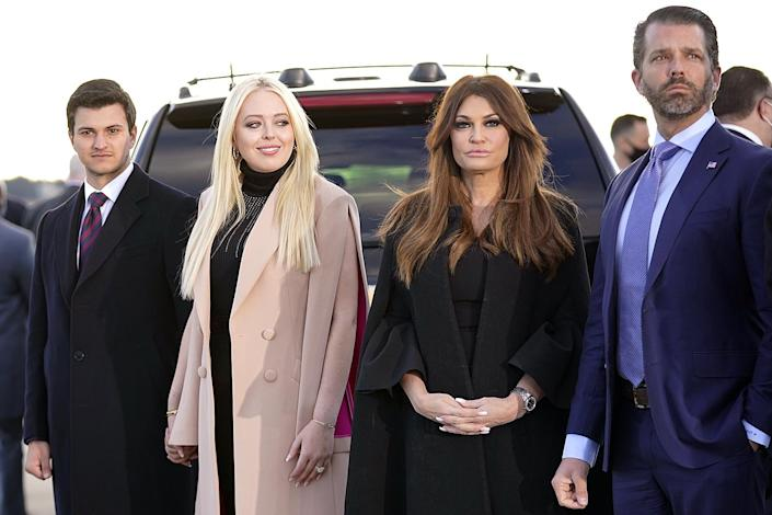 <p>Tiffany Trump and her fiancé Michael Boulos (left) and Donald Trump Jr. and his girlfriend Kimberly Guilfoyle (second from right) wait for President Donald Trump and First Lady Melania Trump to arrive. </p>