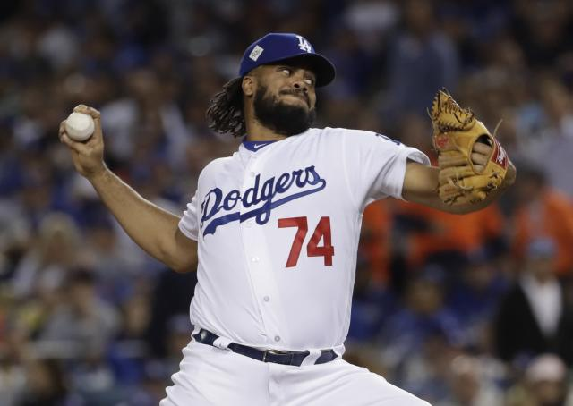 Kenley Jansen has had a tough time early for the Dodgers. (AP Photo/Matt Slocum)