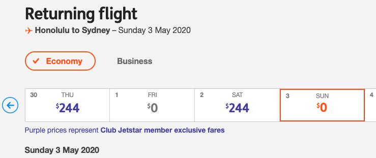 Jetstar's return for free sale. Source: Getty