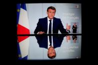 French President Emmanuel Macron on national telavision