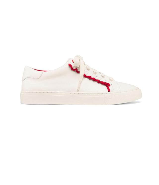 "<p>Ruffle Sneaker, $228, available on Dec. 28 on <a href=""https://www.torysport.com/"" rel=""nofollow noopener"" target=""_blank"" data-ylk=""slk:torysport.com"" class=""link rapid-noclick-resp"">torysport.com</a> </p>"