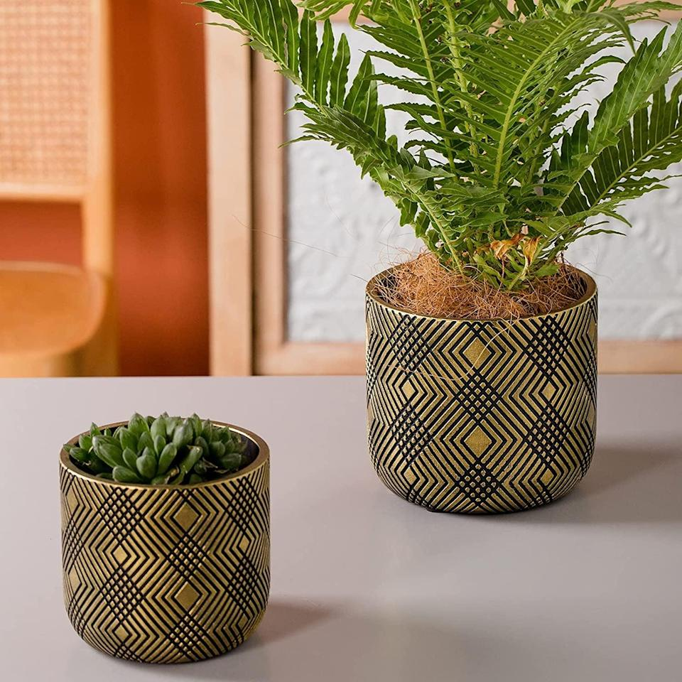 <p>Dress up your plants with these <span>Vintage Golden Painted Cement Planter with Rhombus Embossed Pattern</span> ($20, originally $27 for two). It'll make a statement in any room and steal the show.</p>