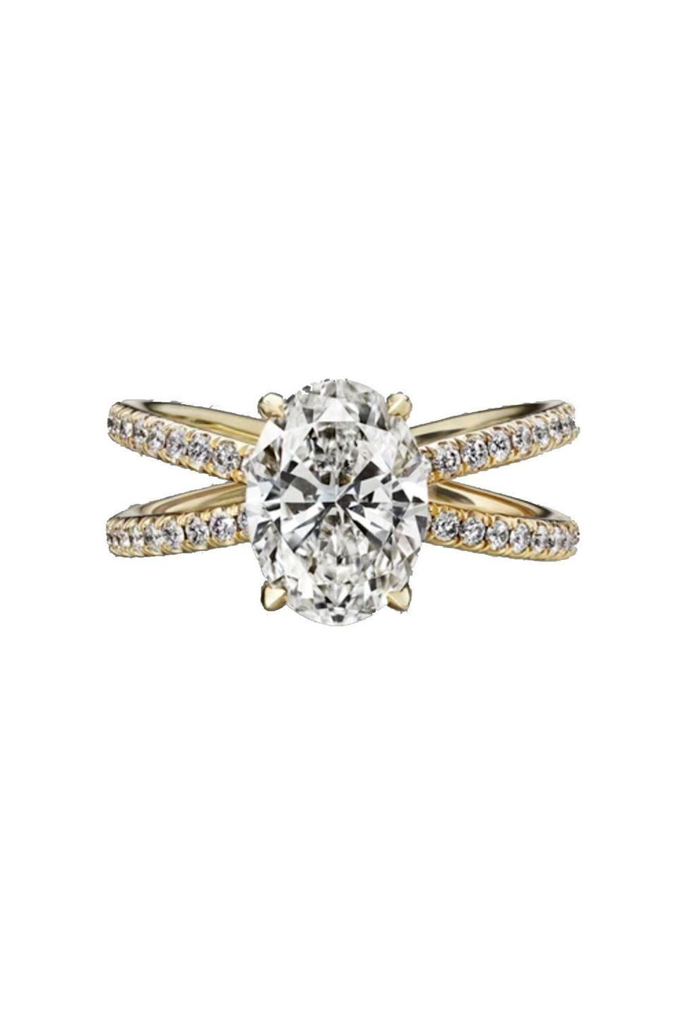 """<p><strong>Material Good</strong></p><p>materialgood.com</p><p><strong>$25500.00</strong></p><p><a href=""""https://www.materialgood.com/collections/engagement-rings/products/oval-cut-engagement-ring-with-diamond-pave-4"""" rel=""""nofollow noopener"""" target=""""_blank"""" data-ylk=""""slk:Shop Now"""" class=""""link rapid-noclick-resp"""">Shop Now</a></p><p>Level up a classic ring with a double band. </p>"""