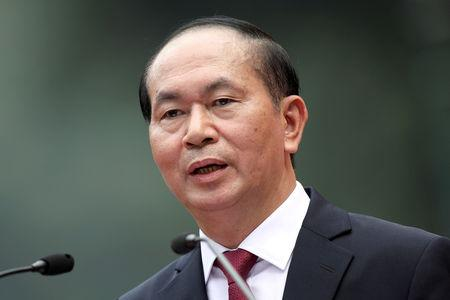 FILE PHOTO: Vietnamese President Tran Dai Quang speaks during a press conference at the Presidential Palace in Hanoi , Vietnam, 12 November 2017.  REUTERS/Luong Thai Linh/Pool/File Photo