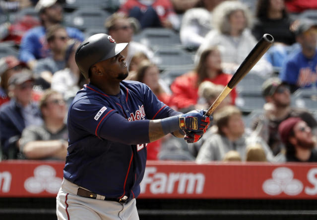 Minnesota Twins' Miguel Sano watches his two-run home run against the Los Angeles Angels during the seventh inning of a baseball game Thursday, May 23, 2019, in Anaheim, Calif. (AP Photo/Marcio Jose Sanchez)