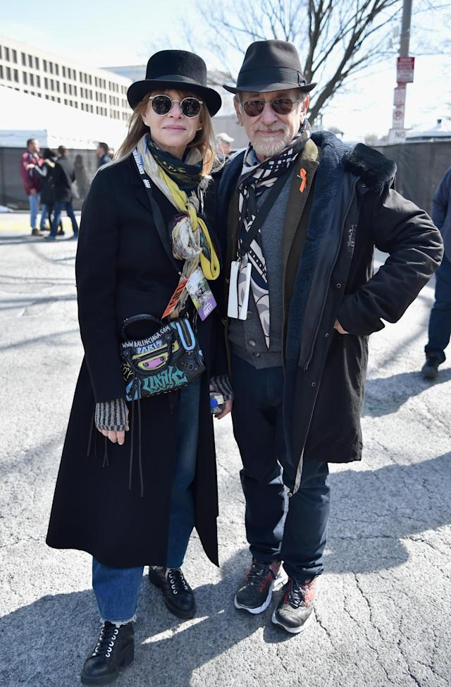 <p>Actor Kate Capshaw and her hubby, director Steven Spielberg, attend March For Our Lives in Washington, D.C. (Photo: Getty Images) </p>