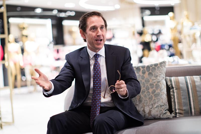 Richard Baker, the chairman of the Hudson's Bay Company speaks at a Galeria Kaufhof store in Duesseldorf, Germany, 7 April 2017. The mother company of Kaufhof Hudson's Bay Company (HBC) wants to expand in Europe. Photo: Marcel Kusch/dpa | usage worldwide (Photo by Marcel Kusch/picture alliance via Getty Images)