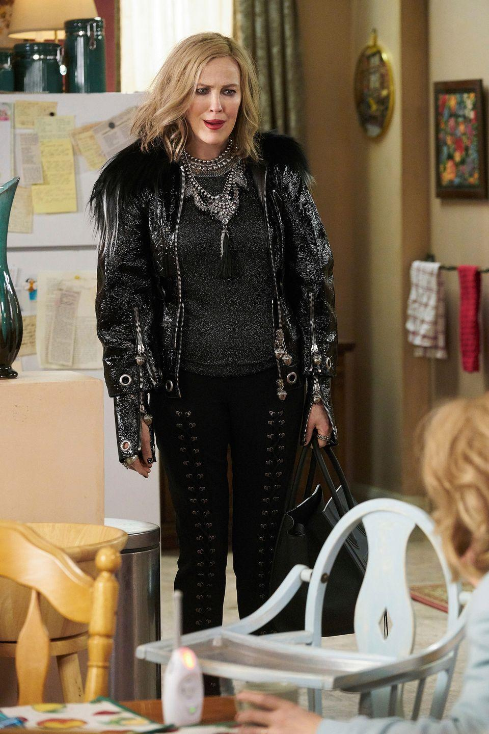 """<p><strong>Tip</strong>: Don't be afraid to go all out. This is Moira Rose; of course she's not afraid of a fashion risk. Also a wig is a given, but any fan of the show knows you have plenty of options to choose from. </p><p><em>Banana Republic gunmetal metallic sweater, $55</em></p><p><a class=""""link rapid-noclick-resp"""" href=""""https://go.redirectingat.com?id=74968X1596630&url=https%3A%2F%2Fbananarepublic.gap.com%2Fbrowse%2Fproduct.do%3Fpid%3D518926002%26vid%3D1%23pdp-page-content&sref=https%3A%2F%2Fwww.marieclaire.com%2Ffashion%2Fg33216949%2Fpop-culture-halloween-costumes%2F"""" rel=""""nofollow noopener"""" target=""""_blank"""" data-ylk=""""slk:Shop it"""">Shop it</a></p><p><em>A.L.C black lace-up pants, $158</em></p><p><a class=""""link rapid-noclick-resp"""" href=""""https://go.redirectingat.com?id=74968X1596630&url=https%3A%2F%2Fwww.saksoff5th.com%2Fproduct%2Fa.l.c.-kingsley-lace-up-pants-0400010711293.html%3Fsite_refer%3DNPLA_GGL_Shopping&sref=https%3A%2F%2Fwww.marieclaire.com%2Ffashion%2Fg33216949%2Fpop-culture-halloween-costumes%2F"""" rel=""""nofollow noopener"""" target=""""_blank"""" data-ylk=""""slk:Shop it"""">Shop it</a></p><p><em>7 For All Mankind patent leather jacket with faux fur trim, $208</em></p><p><a class=""""link rapid-noclick-resp"""" href=""""https://go.redirectingat.com?id=74968X1596630&url=https%3A%2F%2Fwww.bloomingdales.com%2Fshop%2Fproduct%2F7-for-all-mankind-faux-fur-trimmed-patent-leather-jacket%3FID%3D3485985%26pla_country%3DUS%26CAGPSPN%3Dpla%26CAAGID%3D85781253985%26CATCI%3Daud-847008262443%253Apla-376640334376%26cm_mmc%3DGoogle-PLA-ADC-_-tROAS_FOB_Campaign-_-yes_i-_-190392650973USA%26gclid%3DCj0KCQjwgJv4BRCrARIsAB17JI5yY3YjXVDfgLanrRqHFrrzgMCiFxgkImR2Vu4SWB7eWkdUR8DAhvkaAsDXEALw_wcB&sref=https%3A%2F%2Fwww.marieclaire.com%2Ffashion%2Fg33216949%2Fpop-culture-halloween-costumes%2F"""" rel=""""nofollow noopener"""" target=""""_blank"""" data-ylk=""""slk:Shop it"""">Shop it</a></p><p><em>Reis Jewelry silver statement necklace, $15</em></p><p><a class=""""link rapid-noclick-resp"""" href=""""https://www.amazon.com/ReisJewelry"""