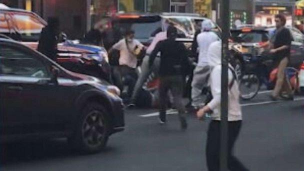 PHOTO: In this screen grab taken from a video, Joseph Borgen is attacked near Times Square, in New York, on May 20, 2021. (Robert Bertrand via Storyful )