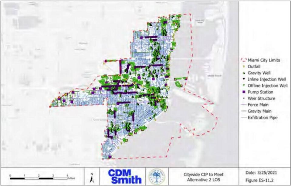 A graphic from Miami's new stormwater master plan shows how much new construction is necessary to protect the city from the flooding expected by 2060.