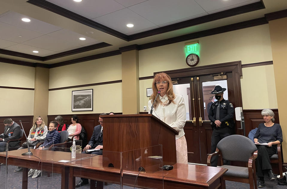 Republican state Rep. Karey Hanks addresses the House State Affairs Committee, Monday, March 15, 2021, in the Statehouse in Boise, Idaho. The committee approved legislation to prohibit mask mandates by government entities in Idaho. (AP Photo/Keith Ridler)