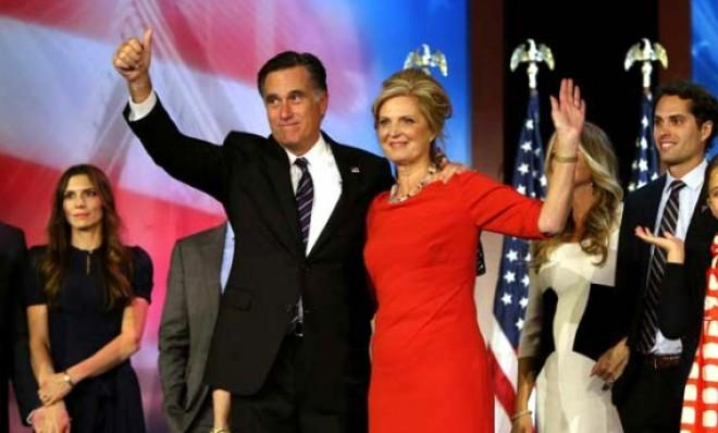 Mitt Romney gives a (hastily prepared) concession speech on election night.