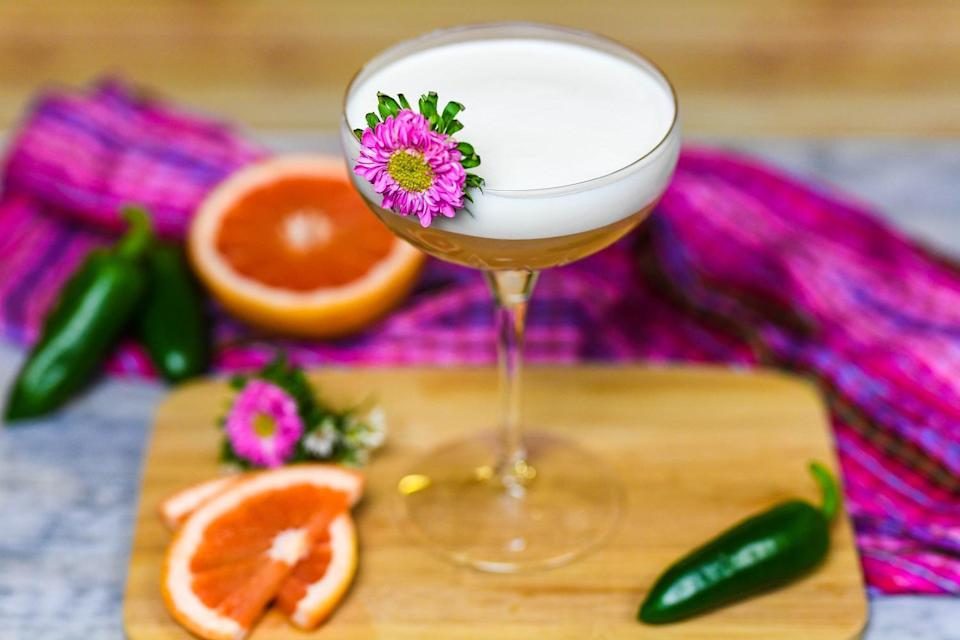 "<p>Citrus is a great ingredient to balance out smoky tequila in <a href=""https://www.thedailymeal.com/drink/11-savory-cocktails-go-perfectly-dinner?referrer=yahoo&category=beauty_food&include_utm=1&utm_medium=referral&utm_source=yahoo&utm_campaign=feed"" rel=""nofollow noopener"" target=""_blank"" data-ylk=""slk:classic cocktails"" class=""link rapid-noclick-resp"">classic cocktails</a>. If you're sick of standard <a href=""https://www.thedailymeal.com/recipes/matt-s-margarita-recipe?referrer=yahoo&category=beauty_food&include_utm=1&utm_medium=referral&utm_source=yahoo&utm_campaign=feed"" rel=""nofollow noopener"" target=""_blank"" data-ylk=""slk:lime"" class=""link rapid-noclick-resp"">lime</a> or <a href=""https://www.thedailymeal.com/best-recipes/meyer-lemon-margaritas?referrer=yahoo&category=beauty_food&include_utm=1&utm_medium=referral&utm_source=yahoo&utm_campaign=feed"" rel=""nofollow noopener"" target=""_blank"" data-ylk=""slk:lemon margaritas"" class=""link rapid-noclick-resp"">lemon margaritas</a>, consider mixing up this grapefruit cocktail, which also has a jalapeno syrup for some extra kick.</p> <p><a href=""https://www.thedailymeal.com/recipes/giddy-grapefruit-sour-recipe?referrer=yahoo&category=beauty_food&include_utm=1&utm_medium=referral&utm_source=yahoo&utm_campaign=feed"" rel=""nofollow noopener"" target=""_blank"" data-ylk=""slk:For the Giddy-up Grapefruit Sour recipe, click here."" class=""link rapid-noclick-resp"">For the Giddy-up Grapefruit Sour recipe, click here.</a></p>"